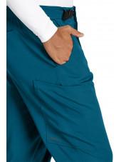 """Pantalon médical homme, couleur vert caraïbe vue détail, collection """"Grey's Anatomy Stretch"""" (GRSP507-)"""