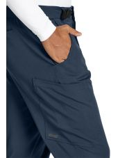 """Pantalon médical homme, couleur gris anthracite vue détail, collection """"Grey's Anatomy Stretch"""" (GRSP507-)"""