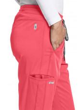 """Pantalon médical femme, couleur corail vue détail, collection """"Grey's Anatomy Stretch"""" (GVSP509-)"""