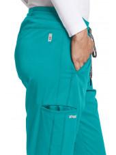 """Pantalon médical femme, couleur teal blue vue détail, collection """"Grey's Anatomy Stretch"""" (GVSP509-)"""