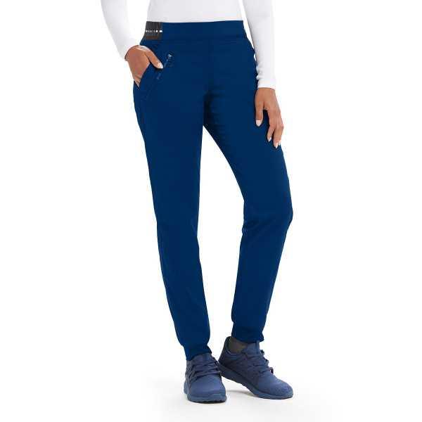 """Pantalon médical femme, couleur bleu marine vue de face, collection """"Grey's Anatomy Stretch"""" (GVSP512-)"""