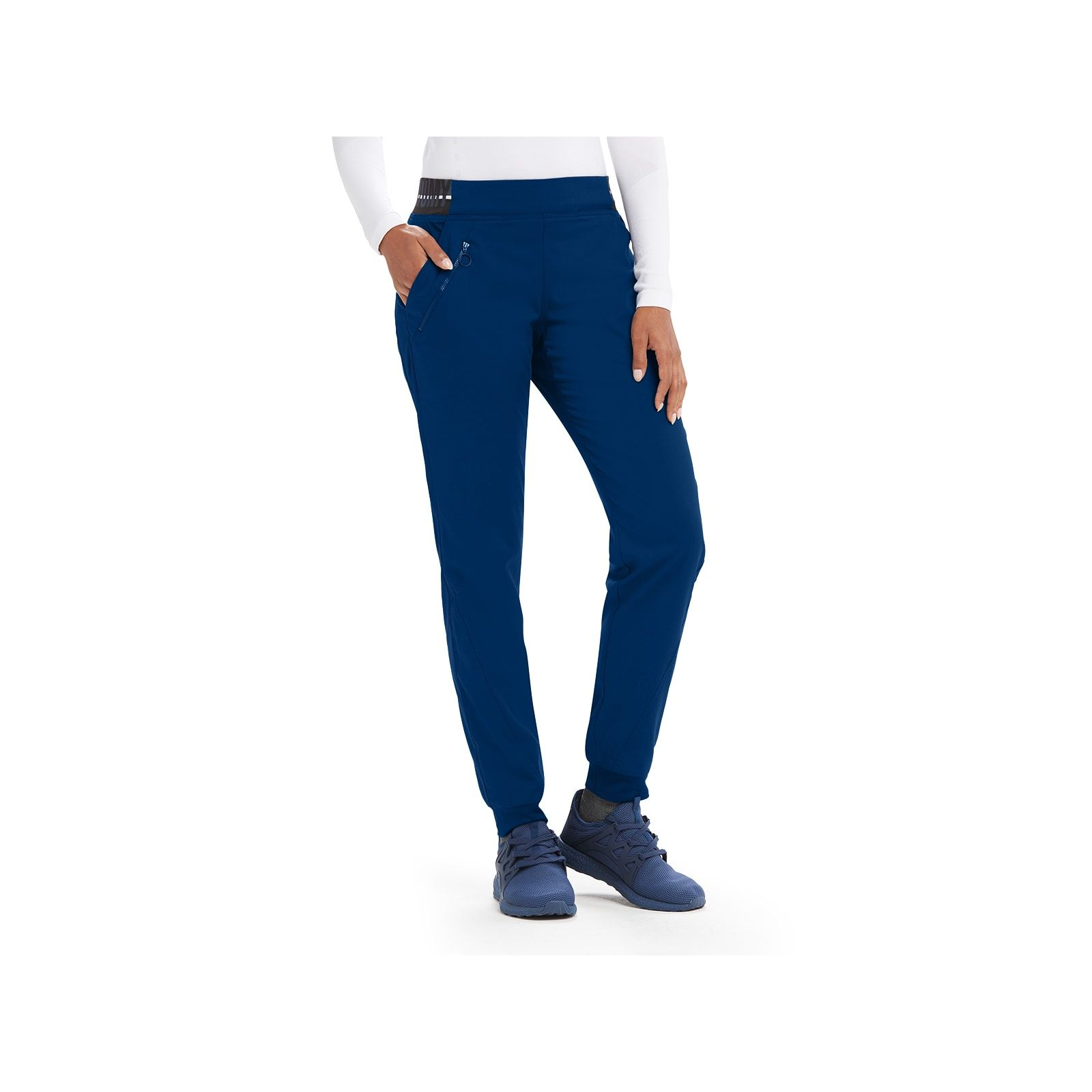 "Pantalon médical femme, couleur bleu marine vue de face, collection ""Grey's Anatomy Stretch"" (GVSP512-)"