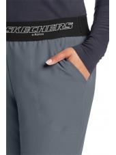 """Pantalon médical femme, couleur gris anthracite vue détail, collection """"Skechers"""" (SK202-)"""