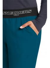 """Pantalon médical femme, couleur vert caraïbe vue détail, collection """"Skechers"""" (SK202-)"""