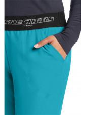 """Pantalon médical femme, couleur bleu turquoise vue détail, collection """"Skechers"""" (SK202-)"""