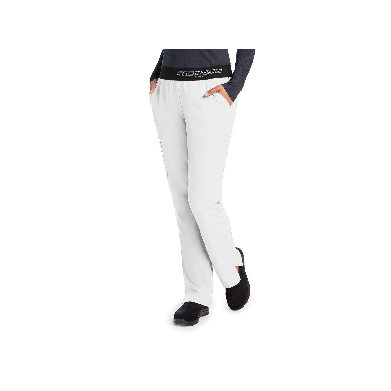 """Pantalon médical femme, couleur blanc vue de face, collection """"Skechers"""" (SK202-)"""