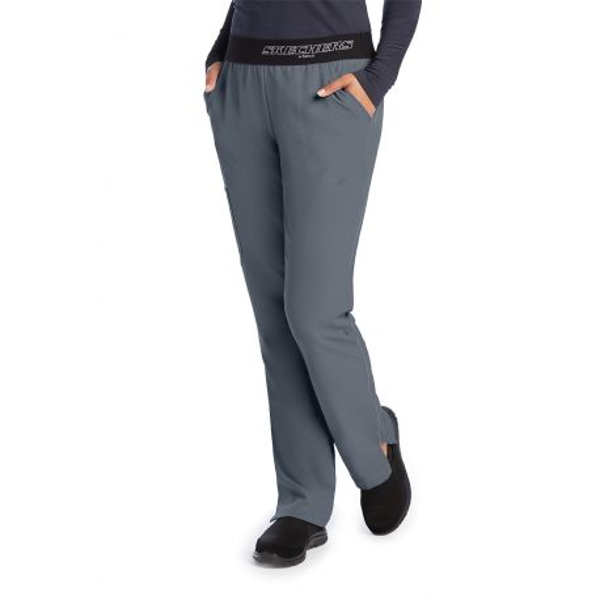 """Pantalon médical femme, couleur gris anthracite vue de face, collection """"Skechers"""" (SK202-)"""