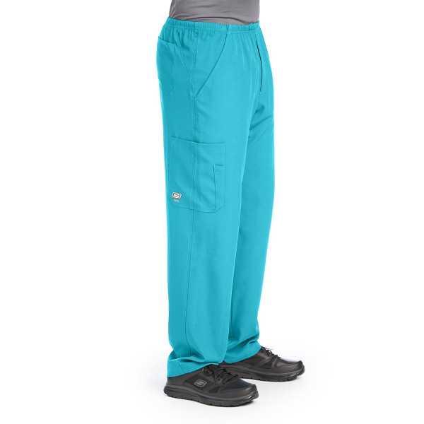 """Pantalon médical homme, couleur turquoise vue de côté, collection """"Skechers"""" (SK0215-)"""