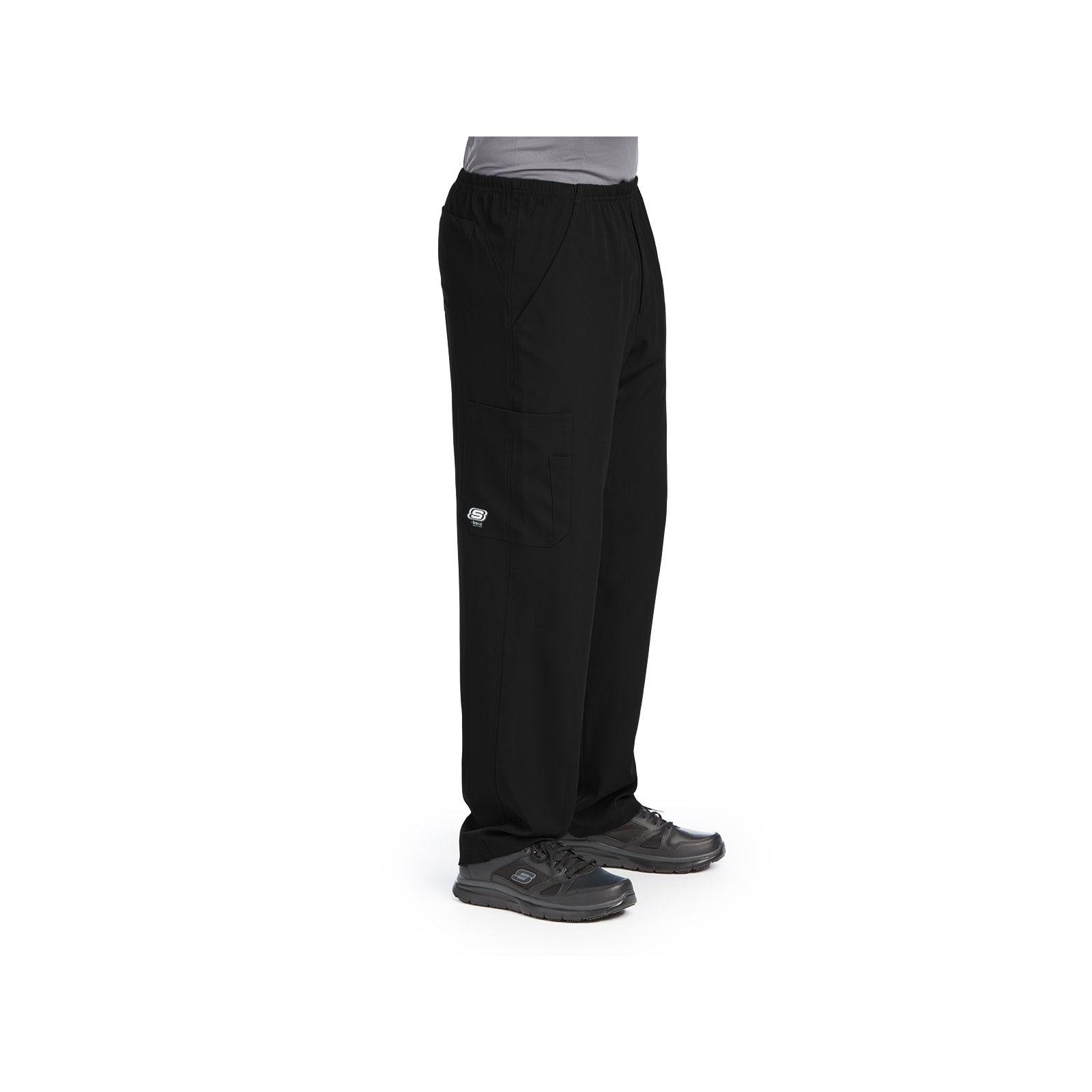 """Pantalon médical homme, couleur noir vue de côté, collection """"Skechers"""" (SK0215-)"""