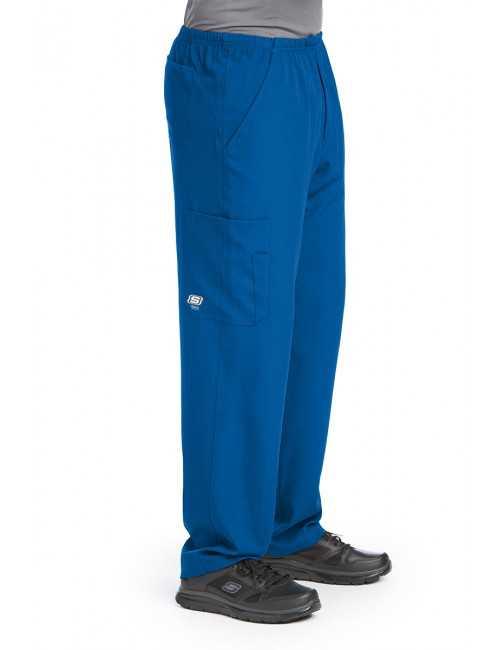 """Pantalon médical homme, couleur bleu royal vue de côté, collection """"Skechers"""" (SK0215-)"""