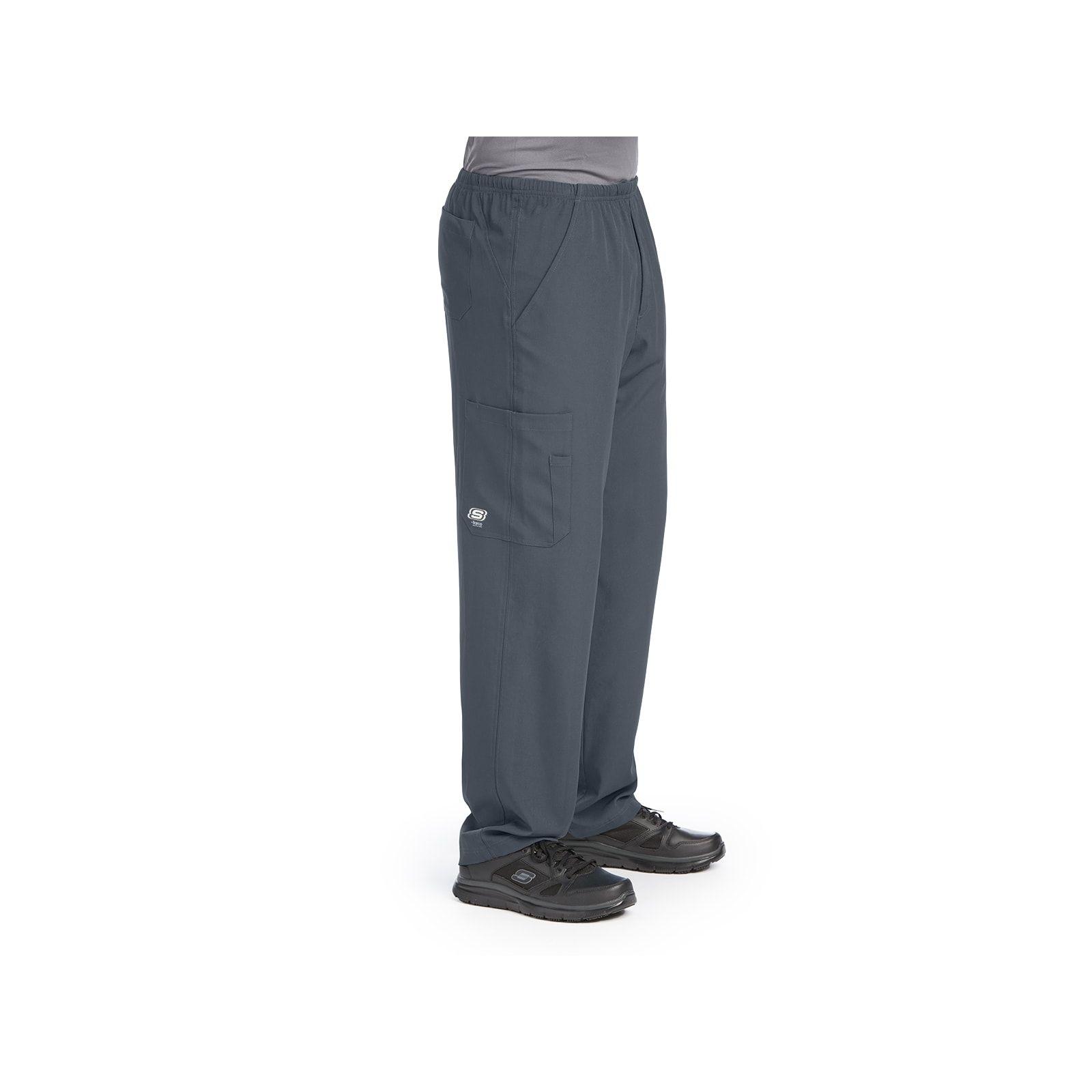 """Pantalon médical homme, couleur gris anthracite vue de côté, collection """"Skechers"""" (SK0215-)"""