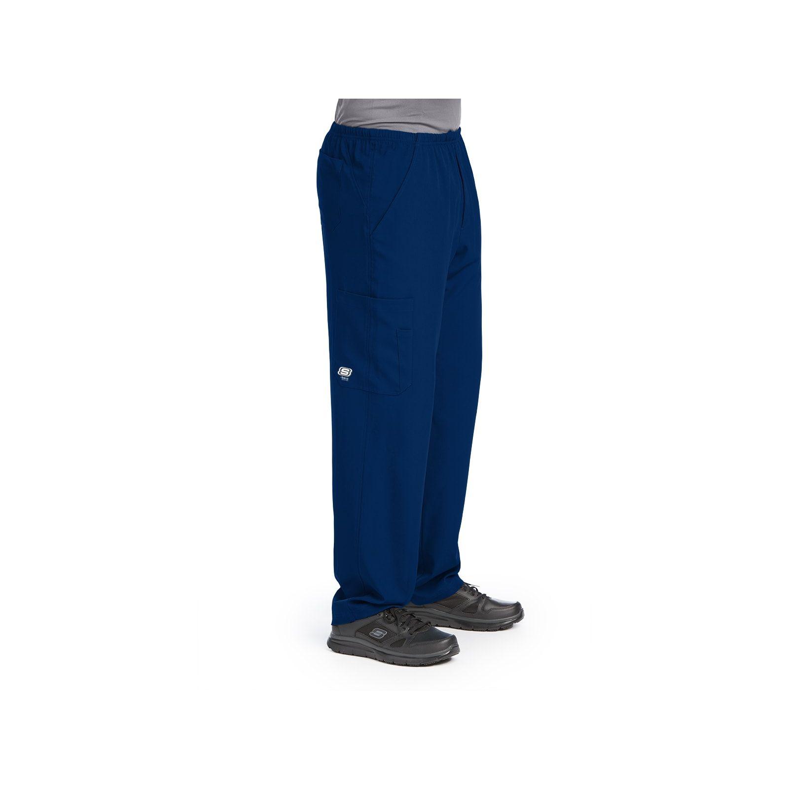 """Pantalon médical homme, couleur bleu marine vue de côté, collection """"Skechers"""" (SK0215-)"""