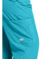 """Pantalon médical homme, couleur bleu turquoise vue détail, collection """"Skechers"""" (SK0215-)"""