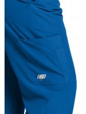 """Pantalon médical homme, couleur bleu royal vue de détail, collection """"Skechers"""" (SK0215-)"""