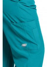 """Pantalon médical homme, couleur bleu turquoise vue de détail, collection """"Skechers"""" (SK0215-)"""