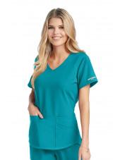 """Blouse médicale femme, couleur teal blue vue de face, collection """"Skechers"""" (SK101-)"""