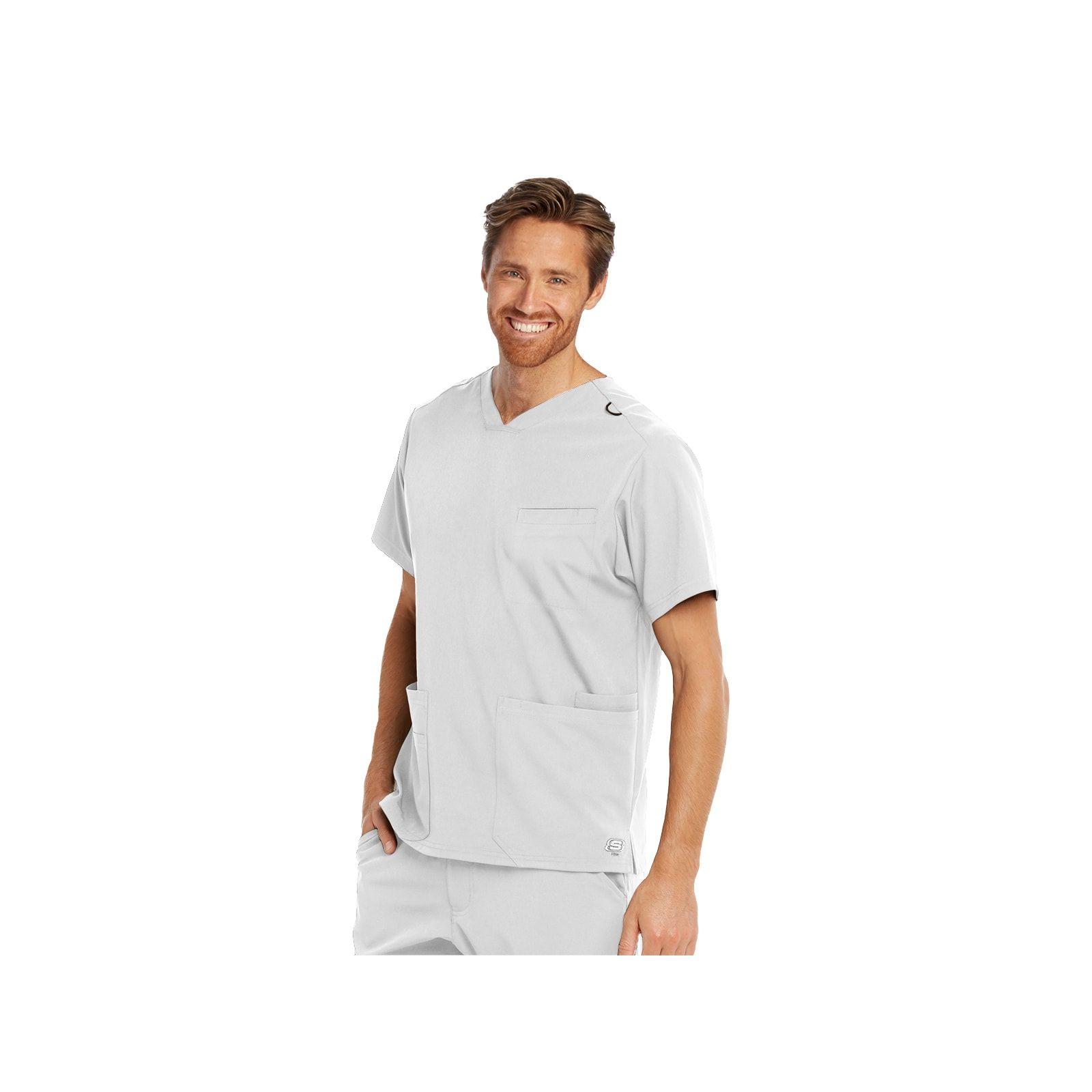"""Blouse médicale homme, couleur blanc vue de face, collection """"Skechers"""" (SKT020-)"""