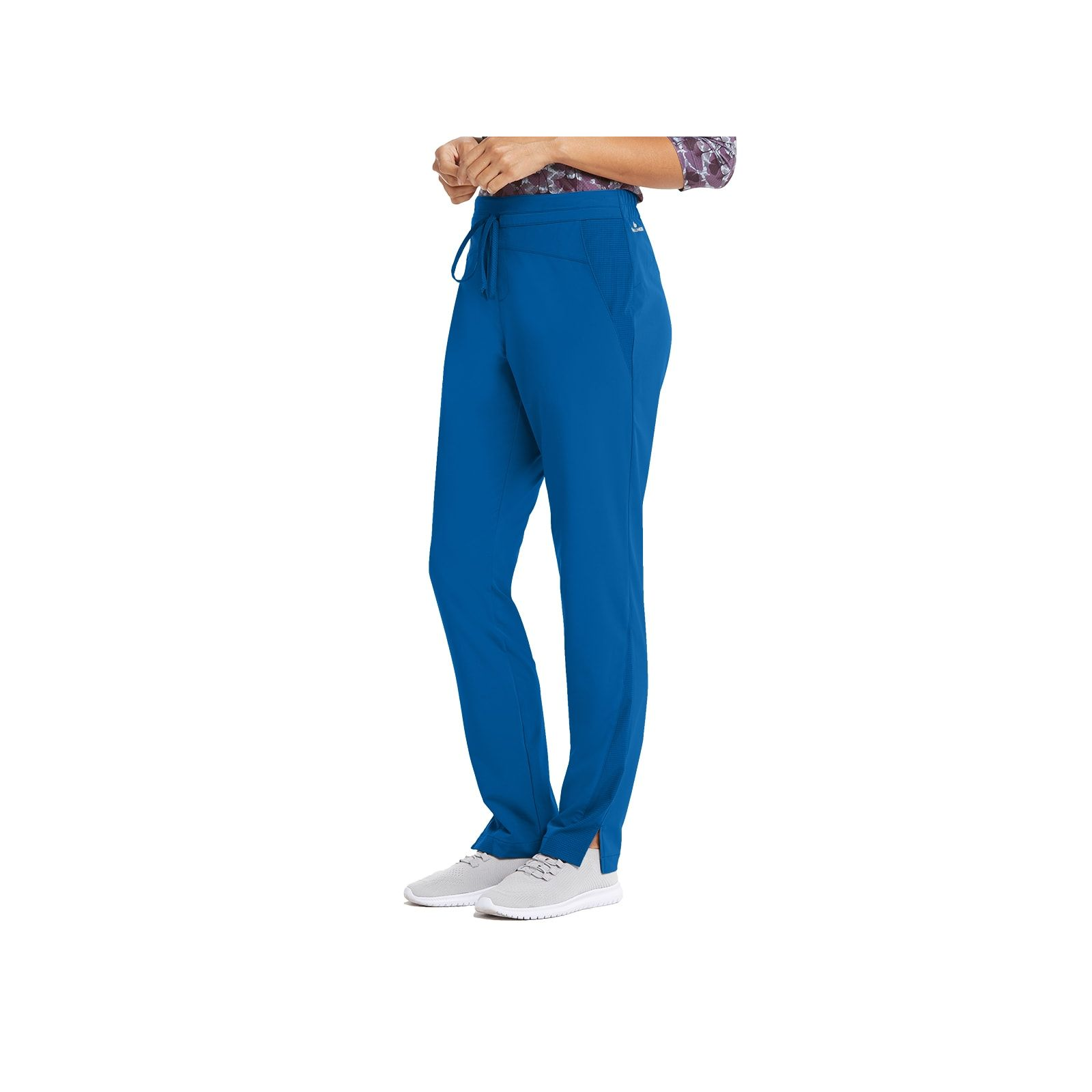 "Pantalon médical femme, couleur bleu royal vue de côté, collection ""Barco One Wellness"" (BWP506-)"