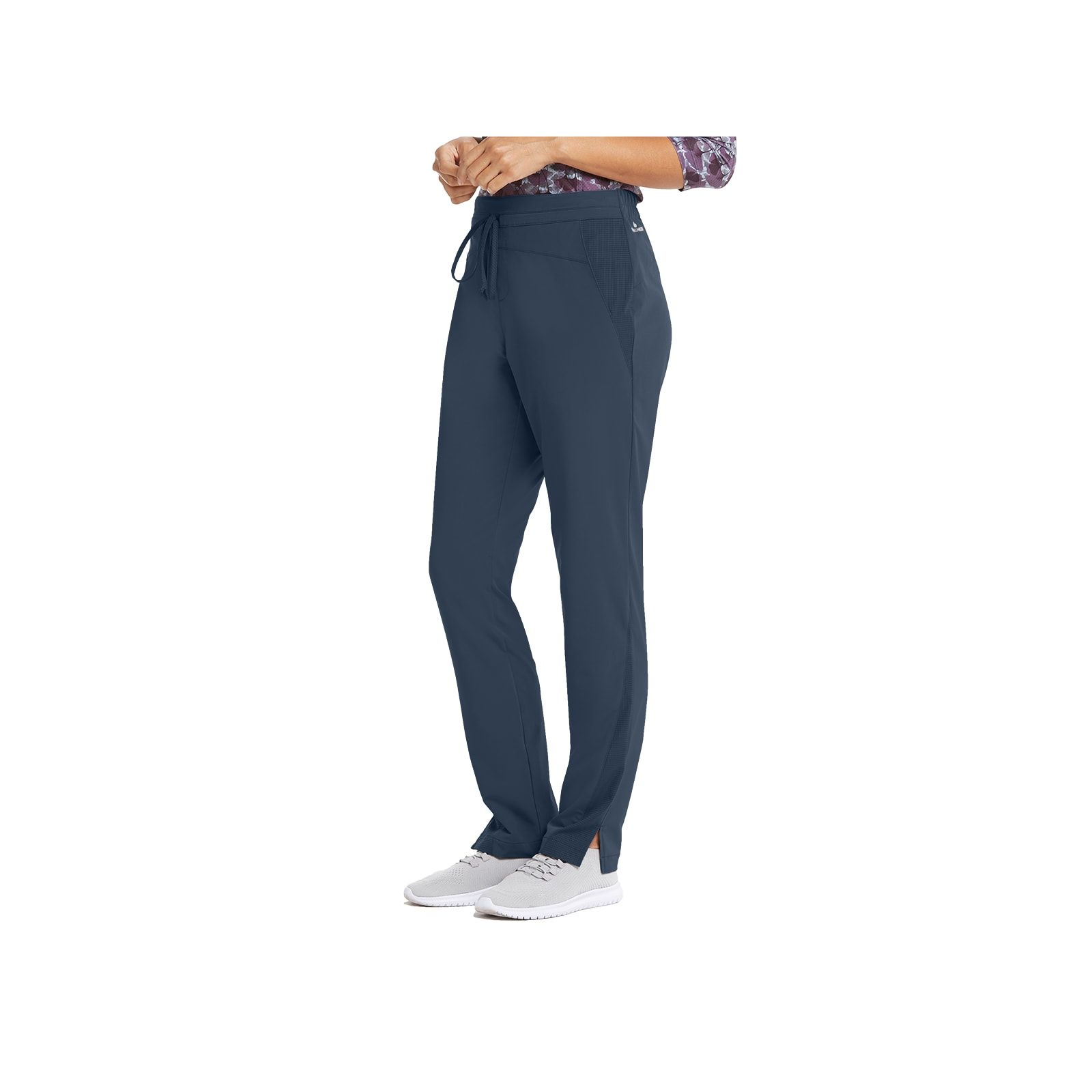 """Pantalon médical femme, couleur gris anthracite vue de côté, collection """"Barco One Wellness"""" (BWP506-)"""