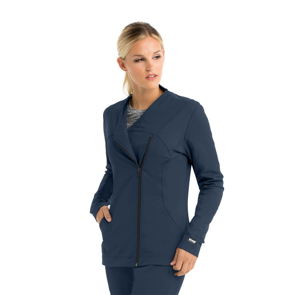 "Veste médicale femme, couleur gris anthracite, vue de face, collection ""Grey's Anatomy Impact"", Barco (7445-)"