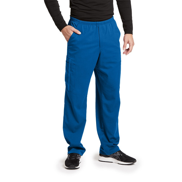 "Pantalon médical homme, couleur bleu royal vue de face, collection ""Grey's Anatomy Impact"", Barco (0219-)"