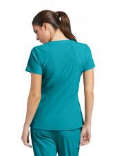 Tunique médicale femme, couleur teal blue vue de dos, Barco One (5105)