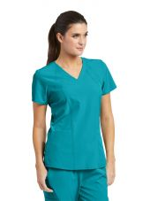 Tunique médicale femme, couleur teal blue vue de face, Barco One (5105)