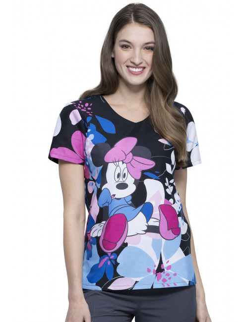 "Blouse médicale imprimée ""Minnie"", Collection Tooniforms Disney (TF626)"
