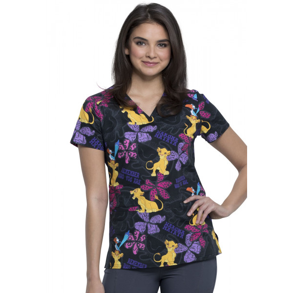 "Blouse médicale imprimée ""Simba"", Collection Tooniforms Disney (TF666)"