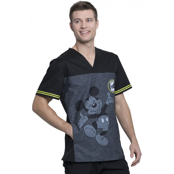 "Blouse médicale imprimée ""Mickey Be Yourself"", vue de gauche, Collection Tooniforms Disney (TF707)"