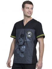 "Blouse médicale imprimée ""Mickey Be Yourself"", vue de droite, Collection Tooniforms Disney (TF707)"