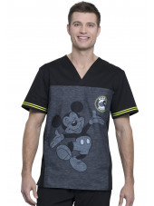 "Blouse médicale imprimée ""Mickey Be Yourself"", vue de face, Collection Tooniforms Disney (TF707)"