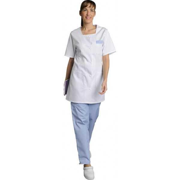 Blouse médicale Femme blanche manches courtes Marina, SNV (MARCP00000) vue modèle