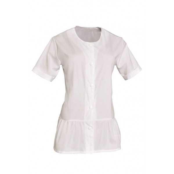Blouse de travail Femme blanche Col rond Liz, SNV (LIZMCP000), vue face