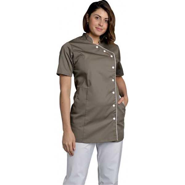 Blouse de travail Femme couleur Col Officier Odile, SNV (ODICC000), couleur taupe vue modèle