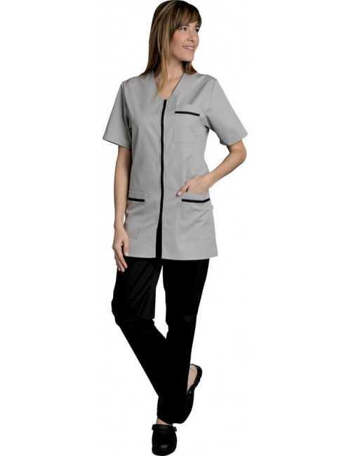 Blouse de travail Femme couleur Fermeture éclair Lena, SNV (LENAMCG0), couleur gris clair vue modèle