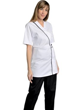 White Women's V-neck Amber Work Gown, SNV (AMBREMC00)