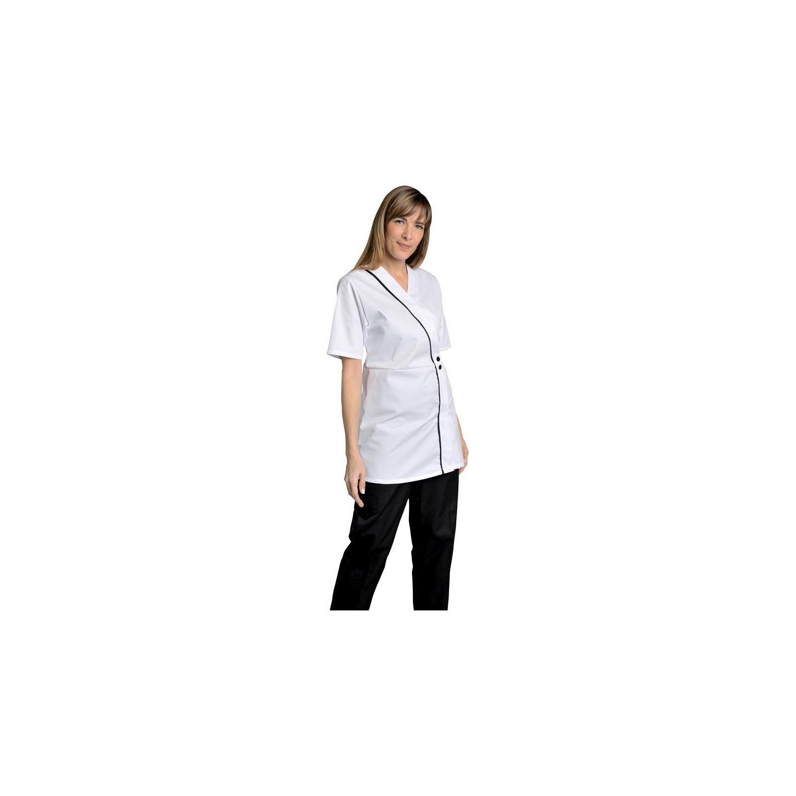 Blouse de travail Femme blanche Col V Ambre, SNV (AMBREMC00), couleur blanche vue modèle
