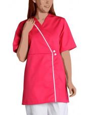 Blouse de travail Femme Couleur Col V Ambre, SNV (AMBREMC) couleur framboise