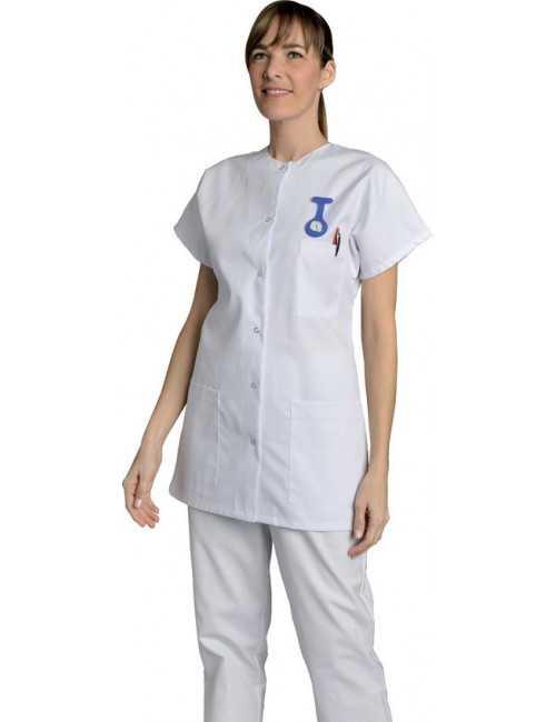Blouse médicale Femme blanche manches courtes Colette, SNV (TCOCP000), vue modèle