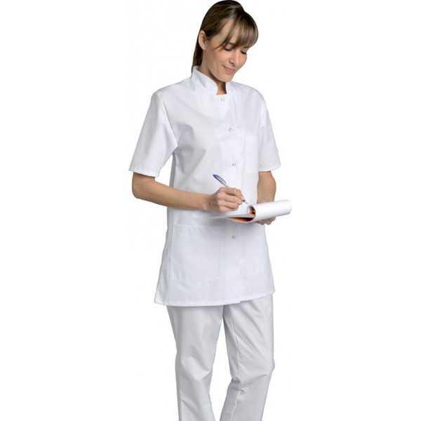 Blouse médicale Femme blanche manches courtes Coton Denise, SNV (DENCP02200) vue modèle