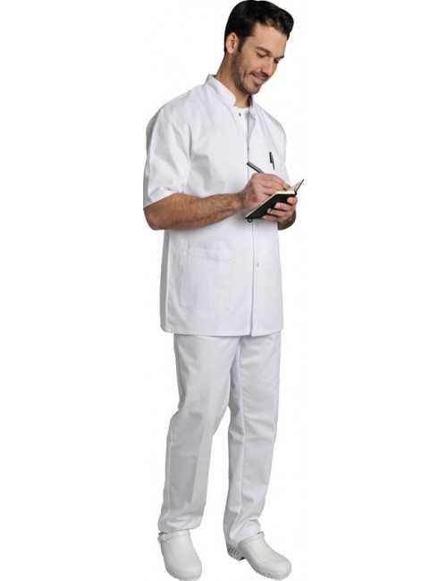 Blouse médicale Homme blanche manches courtes Poly/Coton Denis, SNV (DENCP00000)