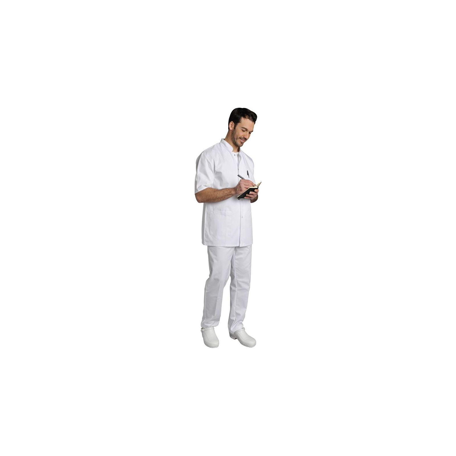 Blouse médicale Homme blanche manches courtes Poly/Coton Denis, SNV (DENCP00000) vue modèle