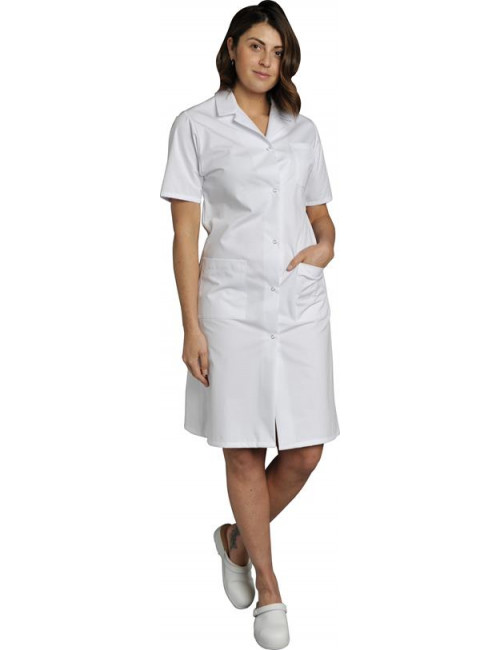 Blouse médicale Femme blanche manches courtes Poly/Coton Madona, SNV (MADCP00000)