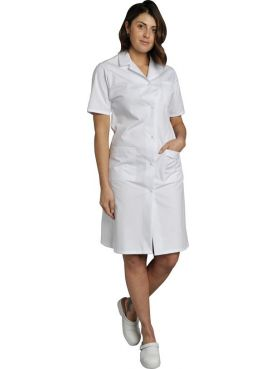 Medical Gown Women's white short-sleeved Poly/Cotton Madona, SNV (MADCP00000)