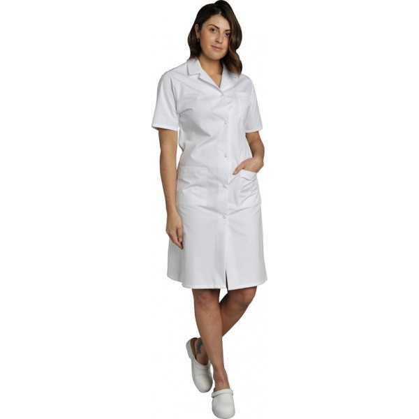 Blouse médicale Femme blanche manches courtes Coton Madona, SNV (MADCP00200) vue modèle