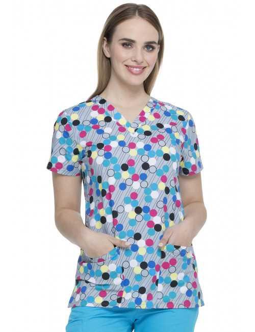 """Dot's my line"""" printed medical gown, Dickies (DK704)"""