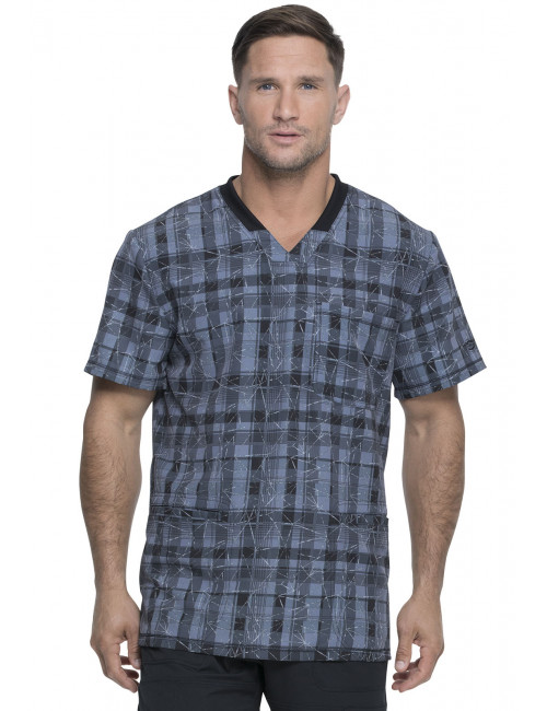 "Blouse Médicale Homme Imprimé ""Positively Plaid Pewter"", Collection ""Dynamix"" (DK607) vue face"