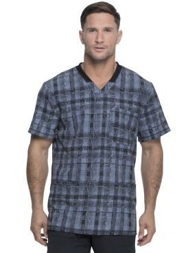 "Men's Medical Blouse Printed ""Positively Plaid Pewter"", ""Dynamix"" Collection (DK607)"