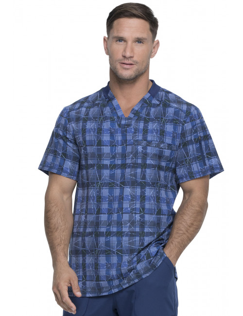 "Men's Medical Blouse Printed ""Positively Plaid Navy"", ""Dynamix"" Collection (DK611)"